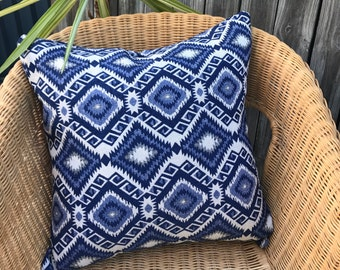 Aztec Scatter Cushion Cover, Blue and White 50 x 50