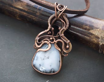 Wire wrapped jewelry // Dendritic agate wire wrapped necklace // Agate wire wrapped pendant // WIre wrap jewelry // Wire wrap pendant