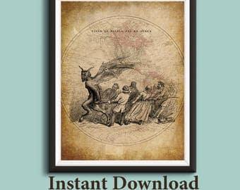 Devil, French Art, Victorian Art, Strange Art, Vintage Illustration, Humor, Religious Illustrations, World Map, Printable Wall Art, MI49