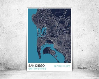 San Diego City Map Print, Custom Map Print, City Map, Scandinavian Print, Wall Art, Personalized, Street Map, San Diego Map Print