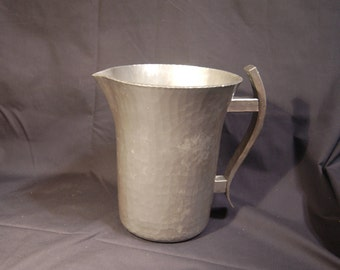 Mid Century Hammered Hand Forged Everlast Metal Water Pitcher 1950's