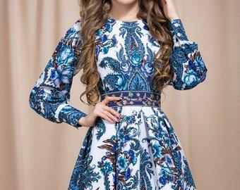 Gzhel summer dress, Floral Boho dress, floral gypsy Dress, bohemian dress, boho chic, boho dress, summer dress midi, blue boho dress