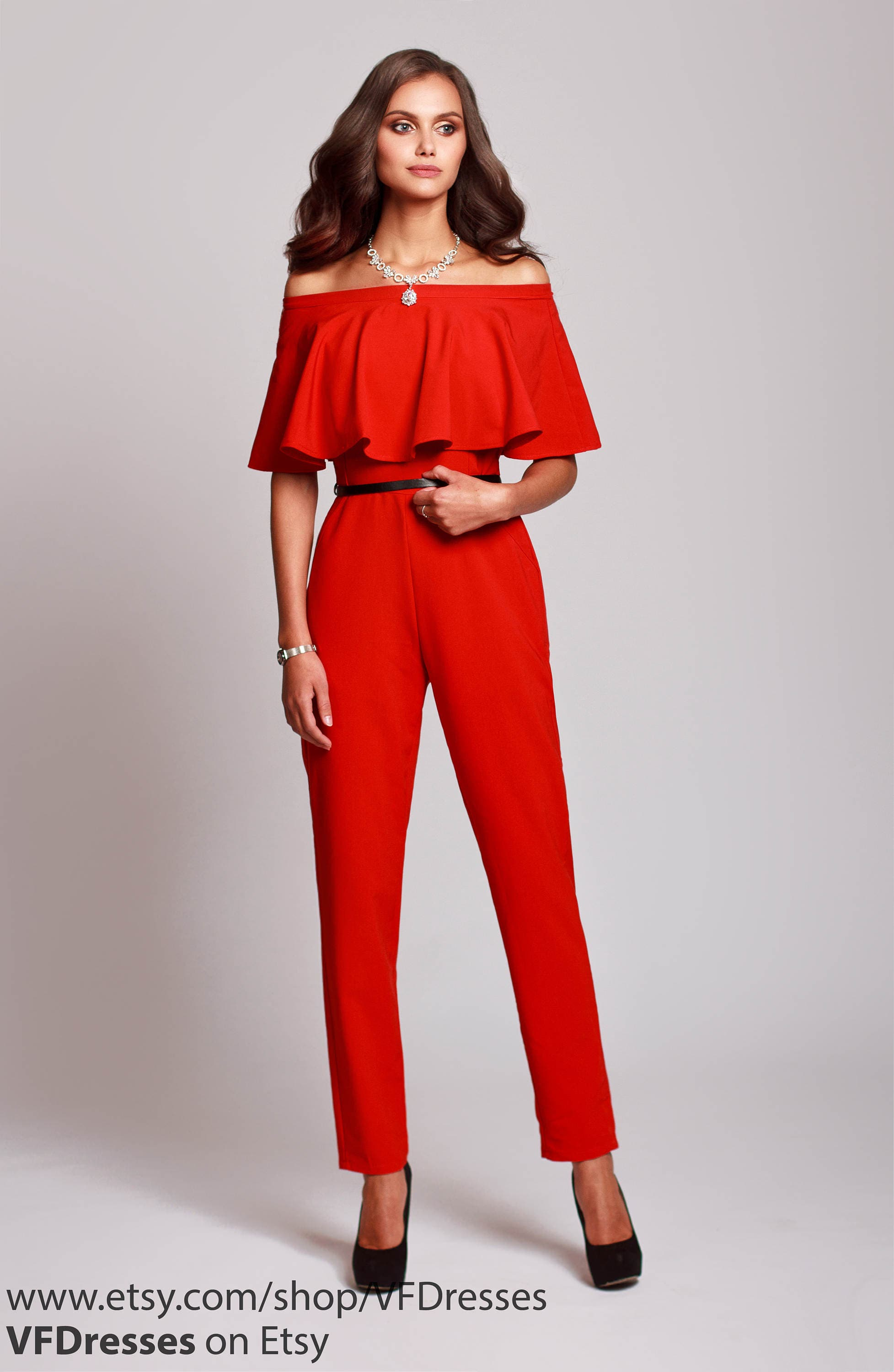 Red jumpsuit womens jumpsuit wedding jumpsuit festive - Jumpsuit hochzeit ...
