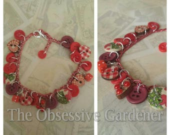 Button Charm Bracelet in Red, Green or Pink Unusual and Pretty