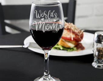 Mother's Day Wine Glass - World's Best Mom - Wine Glass -  Mother's Day Gift Ideas - Mother's Day Gifts - Gifts for Mom - Mom Gifts - Vino