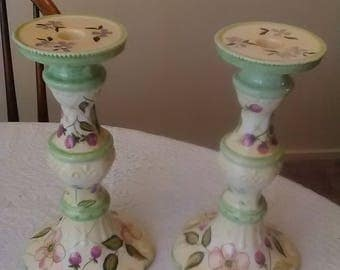 """Vintage Tracy Porter Handpainted Porcelain 10"""" Candle Holders Style: Evelyn"""