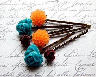 Flower Bobby Pin Set - Orange, Teal and Burgundy Flower Hair Pins -  Vintage Style Hair Accessories