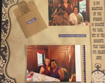 Travel train ride 12 x 12 Premade Scrapbook Single Layout T01