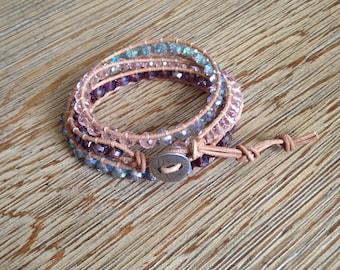 Triple wrap leather bracelet, leather wrap bracelet, beaded bracelet, crystal beaded bracelet, crystal wrap bracelet