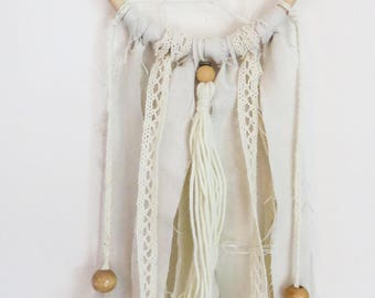 Natural Small Boho Tassel Dreamcatcher Wall Hanging, Custom-sized, Nursery, Wedding, Home Decor