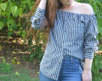 Off-shoulder Black/White Shirt
