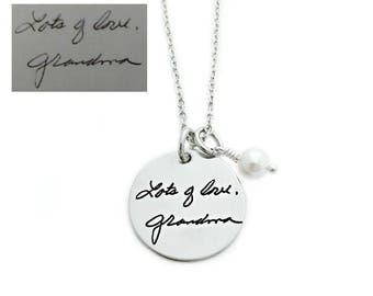 Personalized Handwriting Necklace - Signature Jewelry - Round Actual Handwriting Pendant - Personalized Jewelry - Memorial Keepsake - 1284