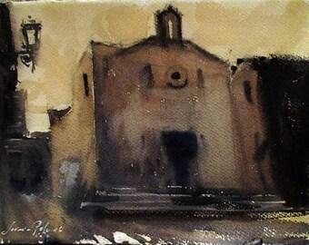 Medieval Church, Oristano Sardinia watercolor
