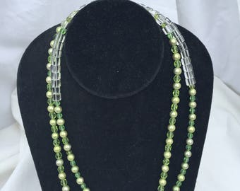 Green Crystal and Pearl Necklace