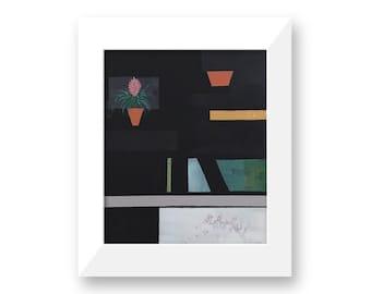 Futuristic Black Interior - Original Abstract Art Painting