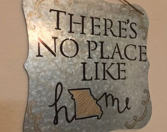 There's No Place Like Home - Custom State, Wedding Gift,  Housewarming Gift