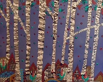 Birch, acrylic, canvas, tree, trees, image, multi colored, points
