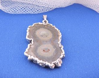 Vintage Modernist Silver Ammonite Fossil Organic Pendant