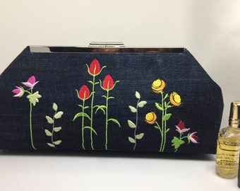 Party clutch/reclaimed denim purse/recycled jean clutch/dark denim purse