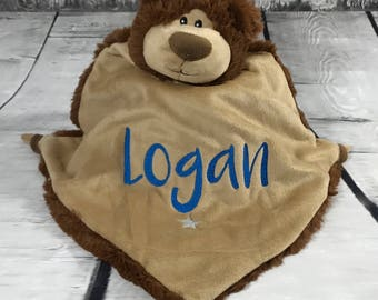 Brown Bear Blankie with Personalisation | Personalised Teddy | New Baby Gift | Christening Present | Baby Shower | Communion Gift | Birthday