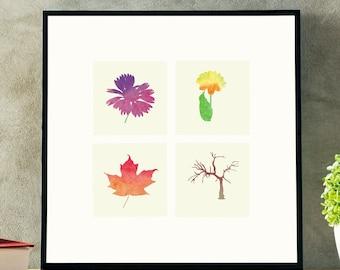 SEASONS Water Color Art Work   Spring, Summer, Fall, Winter   Digital Download   Print