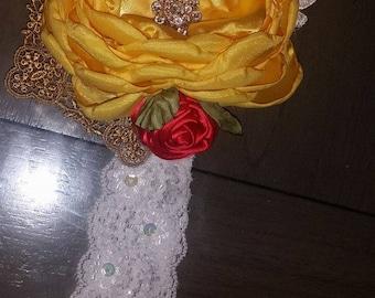Belle Inspired Satin Flower Headband