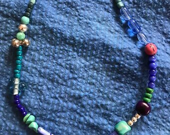 Boho bead tassel necklace
