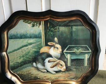 Vintage bunny, vintage rabbits, vintage metal tray, vintage Easter, large vintage tray, shabby chic, farmhouse chic, wall decor, rabbit,