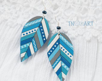 Wooden Leaves Earrings/ handmade jewelry wood earrin set hand painted leaf ethnic style nature Gzhel colors blue white cyan