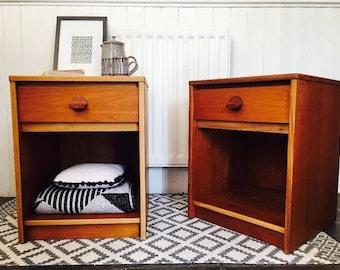 SOLD// SOLD// SOLD// 2 x Retro Vintage Teak Mid Century 'Stag' Bedside Cabinets / Side Tables
