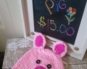 Hand Crochet Pig Hat