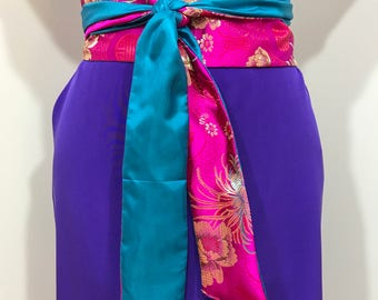 Japanese Asian Obi Belt Shimmering Bright Pink Cincher Corset