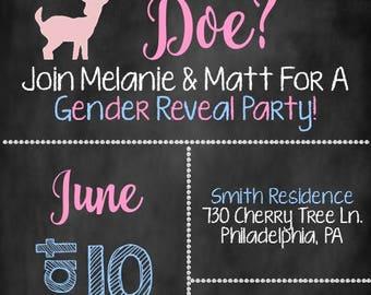 Buck or Doe Gender Reveal Invite, Gender Reveal Invite