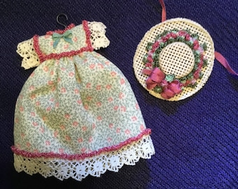 Girls green and pink dollhouse dress and hat