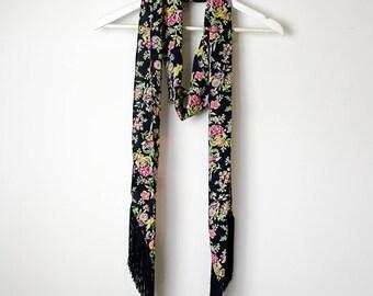 Navy Floral Tassel Scarf