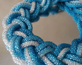 "Original necklace of beads ""Braid"", blue necklace, beaded"