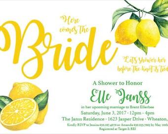 Bridal Shower Invite - Bridal Shower Invitation - Lemon Lime Theme