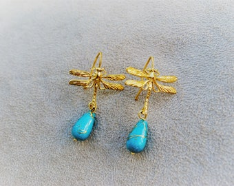 Gold plated brass Dragonfly-shaped earrings and Pearl turquoise