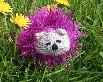 "Mini Hedgehog, natural wool stuffing, ""fun fur"""