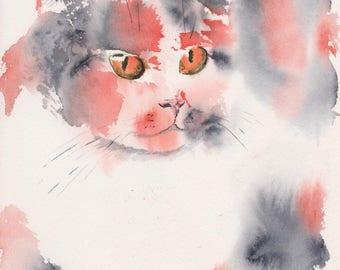 Callie/signed watercolor cat print