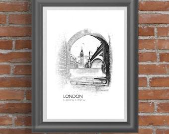 London Big Ben Sketch A2 Poster | farologydesigns | london/bigben/b&w |