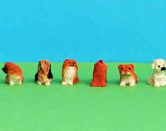 Miniature puppies - set of six tiny dogs - six different breeds - childs toy - dollhouse miniatures - printers box collection - party favors