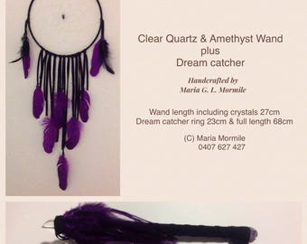 Clear Quartz & Amethyst Crystal Wand plus Dream Catcher
