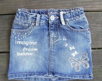 Little Girls Hand Painted Skirt Upcycled Childrens Place Denim skirt size 5