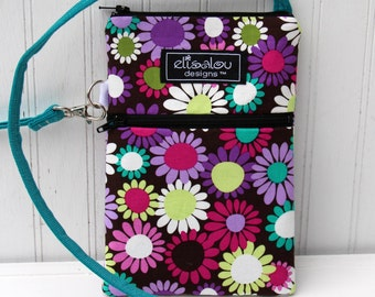 Grape Daisy 2 Pocket Padded Gadget with Extended Strap, iPhone7 or , iPhone 7 Plus, iPod,  Samsung Galaxy, Note, camera