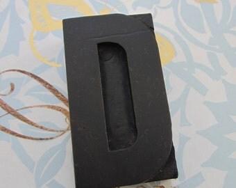 Letter D Antique Letterpress Wood Type Printers Block
