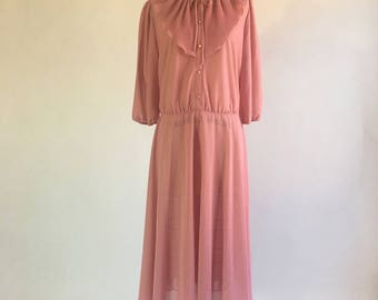 1970s Dusty Pink Bib Collar Dress by Sears The Fashion Place