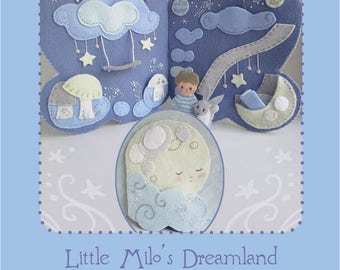 Little Milo's Dreamland felt quiet book PDF sewing pattern felt animals