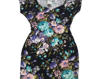 Vintage Body Con Floral Knit Mini Dress Sweetheart Neckline XS