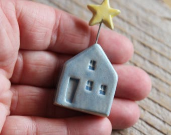 Ceramic Miniature Light Blue House with Yellow Star - Ready to Ship